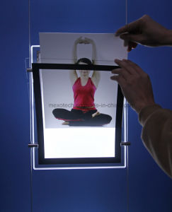Window Display Acrylic Portrait LED Light Pocket with Magnetic Open pictures & photos