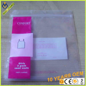 China Manufacture Underwear Packaging Ziplock Zipper Reclosable LDPE Zip Bag