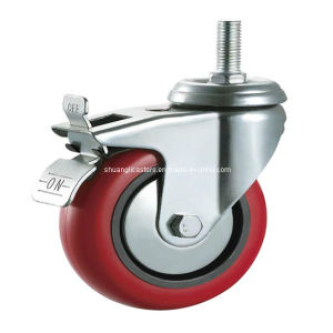 75mm High Quality Swivel PU Caster with Steel Brake