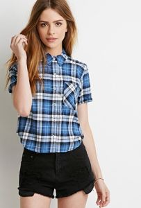 Fashion100% Cotton Boxy Plaid Short Sleeve Women′s Shirt pictures & photos