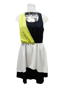 Round Neck Sleeveless Contrast Colors Chiffon Lady Dress (EF D8964)