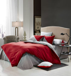 Two Side Using Red-Grey Pure Color Beddding Set pictures & photos