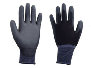 Black Nylon Liner Black PU Glove pictures & photos