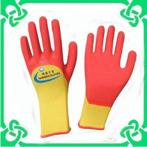 13G Polyester Liner with Latex Coated 3/4 DIP Gloves