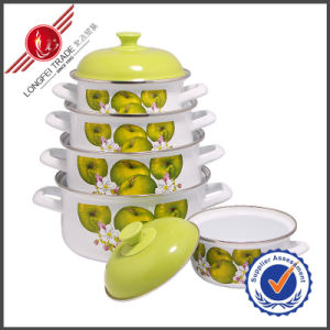 Eco-Friendly Beautiful Cast Iron Enamel Cookware Set with Lid pictures & photos