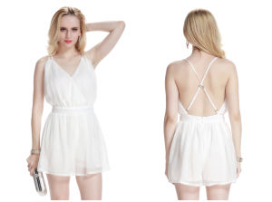 Women′s Deep V-Neck Chiffon Backless Strapless Jumpsuit pictures & photos