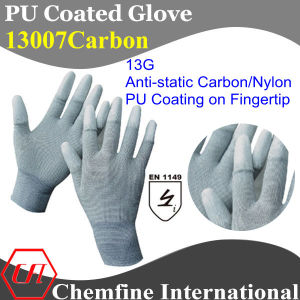 13G Gray Anti-Static Cotton/Nylon Knitted Glove with White PU Smooth Coating on Fingertip/ En1149 pictures & photos