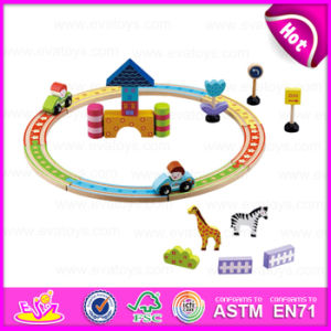 2015 Kids Play Train Railway Set Toy, Cheap Children Wooden Toy Railway Train Set Toy, Wooden Train Toy (WITH 28PCS) W04D003 pictures & photos