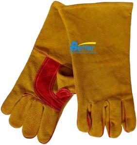 Leather Work Gloves Golden Split Cow Leather Welding Gloves (BGCW317)