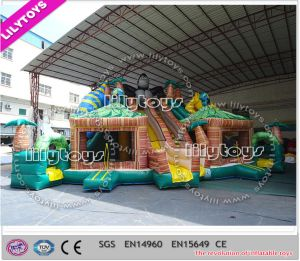 Lilytoys! Newest Customized Inflatable Jungle Forest Design Jumping Slide with Gorilla (Lilytoys-New-034)