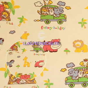 Cartoon Animal′s Car Pattern 250GSM Home Textile Canvas Fabric pictures & photos