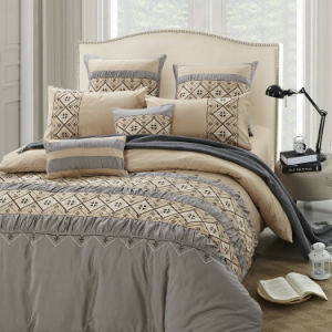 Brown-Grey 4 Pieces Emb&Pleat Bedding Set pictures & photos