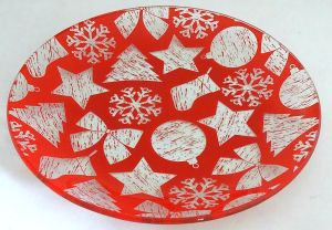 Retro Christmas Snow Decal Decorative Food Tempered Glass Plate pictures & photos
