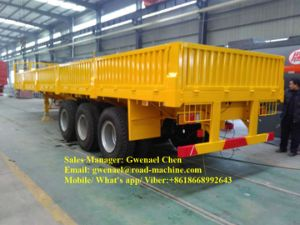 Sinotruk 30 Tons Tri-Axle Flatbed Trailer / Side Wall Semi Trailer with Side Panels Detachable pictures & photos