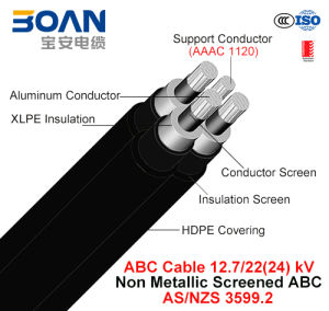 Hv ABC Cable, Aerial Bundled Cable, Al/XLPE/HDPE+AAAC, 3/C+1/C, 12.7/22 Kv (AS/NZS 3599.2) pictures & photos