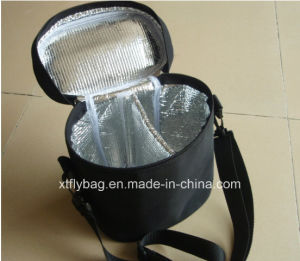 Black Poyester Shoulder Cans Bag Cooler Bag with Inner Apartment pictures & photos