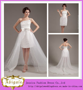 New Sexy Sheath Sequins One-Shoulder Tulle Short Length Wedding Dresses Removable Skirt Yj0039