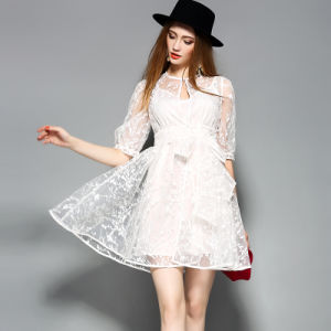 Embroidered Organza Lace Women Dress with Lacing pictures & photos