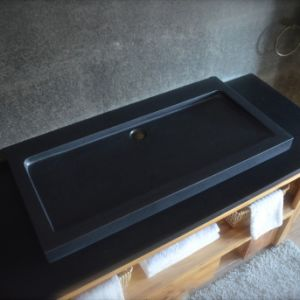 "39"" Pure Black Granite Stone Bathroom Trough Sink pictures & photos"