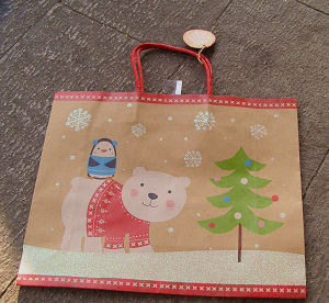 Glitter Snow Man Design Recycle Kraft Paper Gift Bag pictures & photos