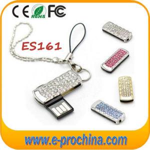 Mini Swivel USB Stick with Keychain Crystal USB 8GB pictures & photos