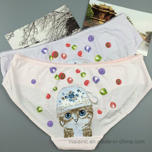 Cutie Cat Printed Girls Cotton Briefs pictures & photos