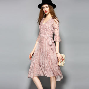 Puff Sleeve Floral Printed Elegant Dress for Women with Belt pictures & photos