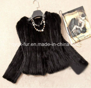 Women′s Knitted Short Mink Fur Coat pictures & photos