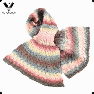 2017 Colorful Space Dyed Yarn Knitted Pattern Fashion Mermaid Shape Scarf pictures & photos