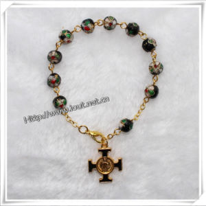 Classic Cloisonne Bead Rosary Bracelet, Black Rosary Bangle (IO-CB078) pictures & photos