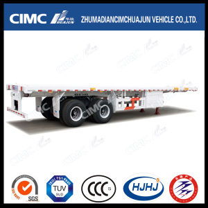 40FT 2axle Flatbed Semi Trailer with Boggie Suspension pictures & photos
