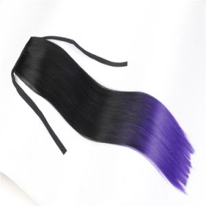 DIP Dyed Two Tone Pony Tail Wigs Synthetic Hair Wig Hair Extension Ponytail Wig pictures & photos