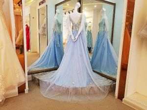 Sheer Neckline Party Prom Formal Gowns Beading Evening Dress T1791 pictures & photos