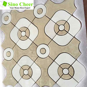 Whole Sale Irregular Crema Marfil Waterjet Marble Mosaic for Floor pictures & photos