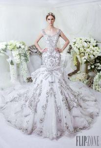 Illision Bodice Trumpet Bridal Gown Vestidos Silver Crystals Wedding Dress Dars2016 pictures & photos