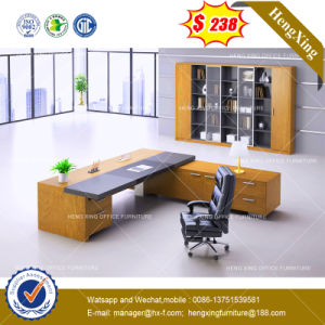 Straight Steel Metal Leg Tempered Glass Office Table /Desk (HX-8NE021C) pictures & photos