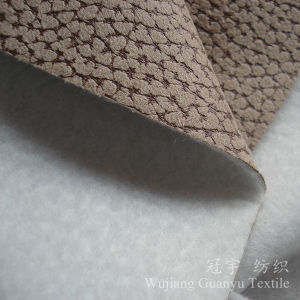 Crocodile Pattern Suede Nap Polyester Leather Fabric for Sofa pictures & photos