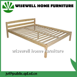 Solid Pine Wood King Platform Bed (W-B-0086) pictures & photos