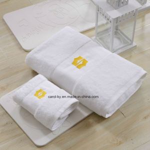 Cotton Shangri-La Hotel Bath Towel Hand Towel with Dobby Border and Hem pictures & photos