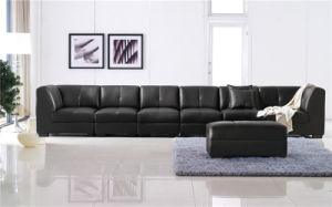 Black Color Free Combination Leather Corner Sofa pictures & photos