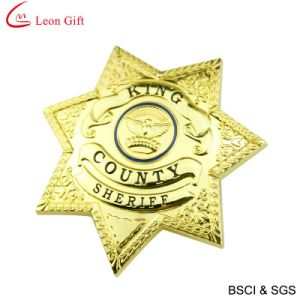 Custom Leather Metal Police Badge (LM1064) pictures & photos