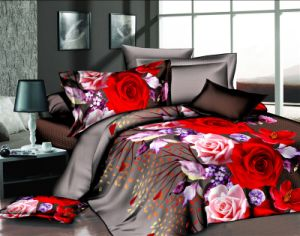 China Microfiber Reactive Floral Printing 3D Printed Bedding Set pictures & photos