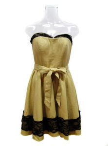 Mustard with Black Lace at Bust Line and Bottom Lady Party Dress (EF D8939)