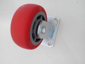 "6"" Fixed Red Round PU Caster Wheel pictures & photos"
