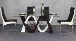 Modern Special Shape Design Glass Table with Shining Painting