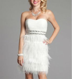 White Beaded Fashion New Style Feather Short Prom Dresses (PD3050) pictures & photos