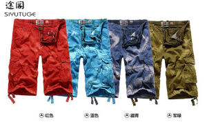 Man Multicolor Cottontwill Cargo Shorts with Belt pictures & photos