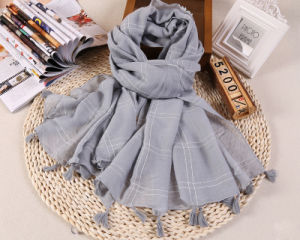 Cotton Polyester Shawls Plain Color Long Tassel Scarf for Wholesale pictures & photos
