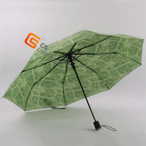Printed Fabric Auto Open 3 Folding Umbrella (YS-3F3003A) pictures & photos