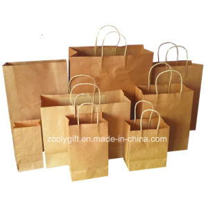 Wholesale Cheap Recycle Kraft Gift Carrier Paper Bags with Twisted Handle pictures & photos